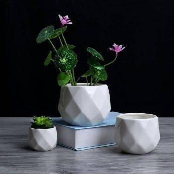 Small Octagon White Ceramic Plant Pots - Flower Pots For Bonsai/Cactus/Succulent 1