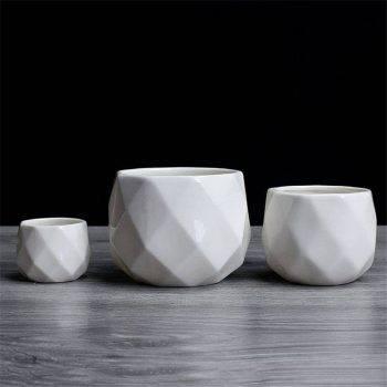 Small Octagon White Ceramic Plant Pots - Flower Pots For Bonsai/Cactus/Succulent 5