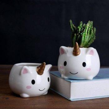 Cute Small White Glazed Ceramic Unicorn Plan Pots - Flower Pots For Bonsai/Cactus 3