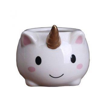 Cute Small White Glazed Ceramic Unicorn Plan Pots - Flower Pots For Bonsai/Cactus 1
