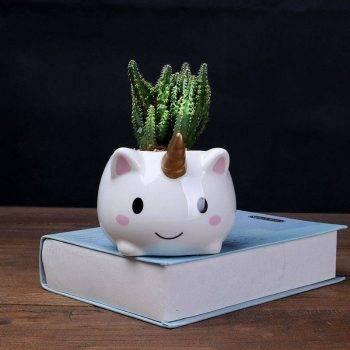 Cute Small White Glazed Ceramic Unicorn Plan Pots - Flower Pots For Bonsai/Cactus 5