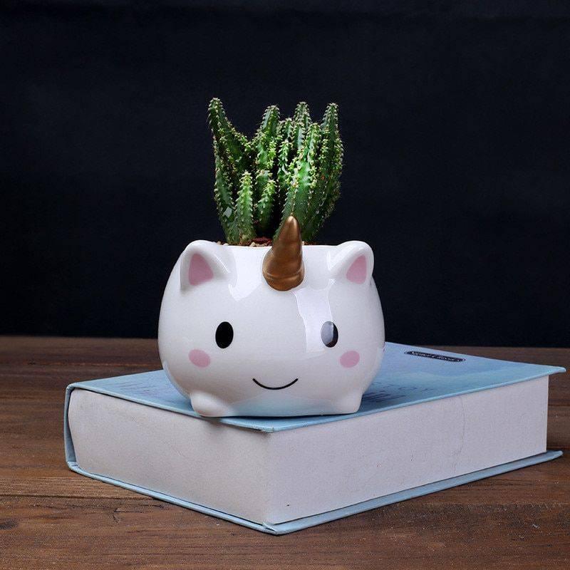 Cute Small White Glazed Ceramic Unicorn Plan Pots – Flower Pots For Bonsai/Cactus