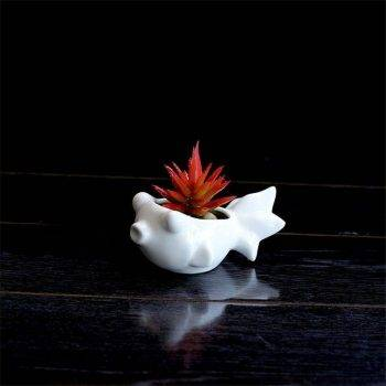 Cute Small White Glazed Ceramic Fish Plan Pots - Flower Pot Decoration 3