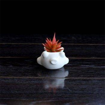 Cute Small White Glazed Ceramic Fish Plan Pots - Flower Pot Decoration 4