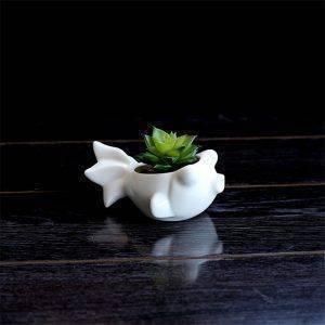 Cute Small White Glazed Ceramic Fish Plan Pots – Flower Pot Decoration