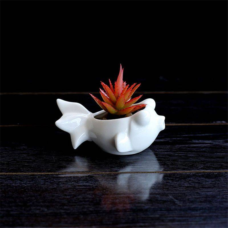 Cute Small White Glazed Ceramic Fish Plan Pots – Flower Pot Decoration