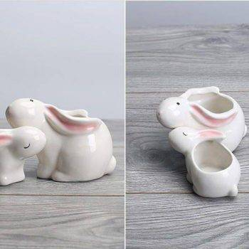 Cute Small White Glazed Ceramic Rabbits Plan Pots - Flower Pot Decoration 4