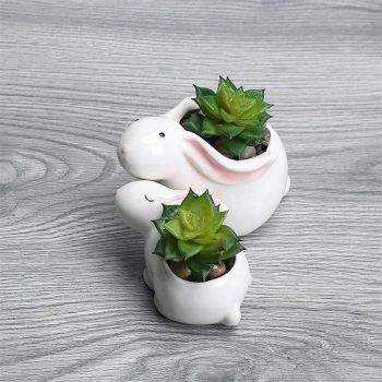 Cute Small White Glazed Ceramic Rabbits Plan Pots - Flower Pot Decoration 3