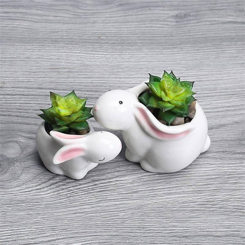 Cute Small White Glazed Ceramic Rabbits Plan Pots – Flower Pot Decoration