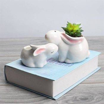 Cute Small White Glazed Ceramic Rabbits Plan Pots - Flower Pot Decoration 1