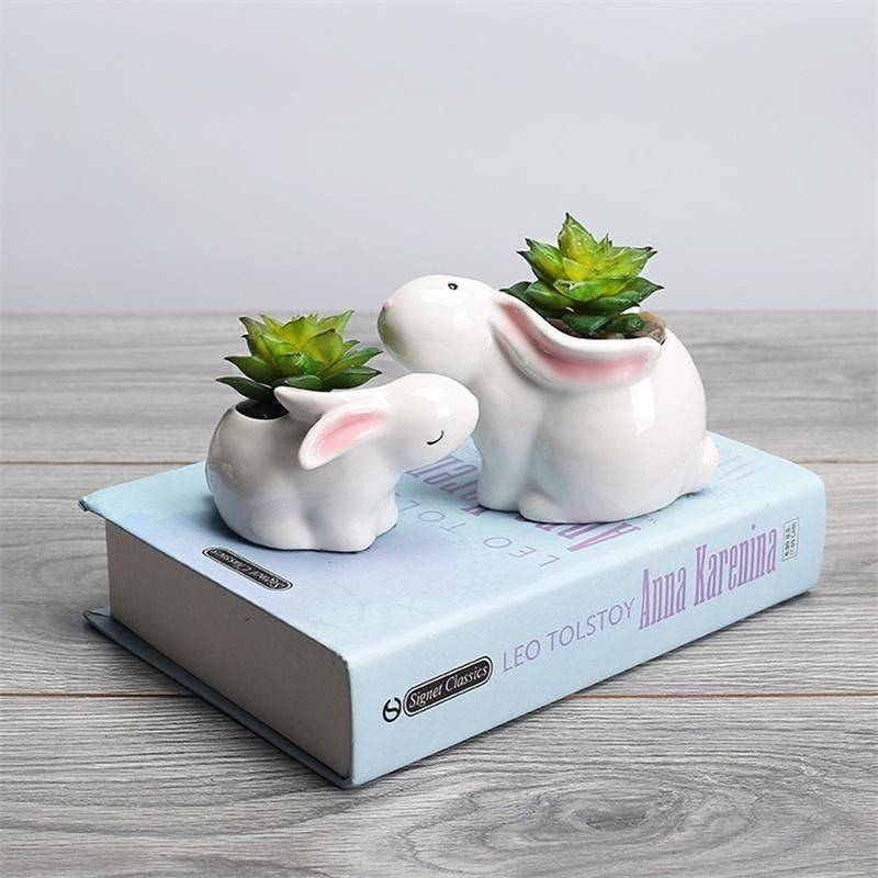 Cute Small White Glazed Ceramic Rabbits Plan Pots – Flower Pot Decoration
