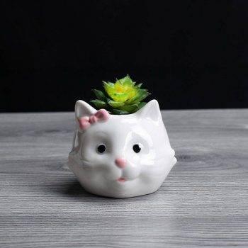 Cute Small White Glazed Ceramic Sheep/Cat Plan Pots - Decorative Pots For Houseplants 1