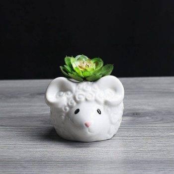 Cute Small White Glazed Ceramic Sheep/Cat Plan Pots - Decorative Pots For Houseplants 2
