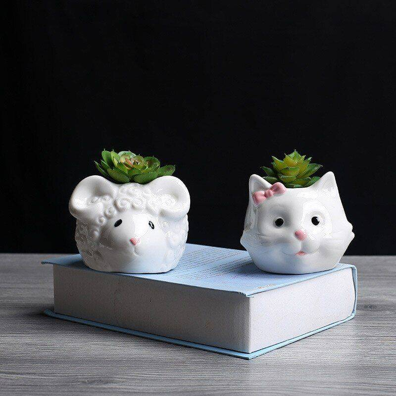 Cute Small White Glazed Ceramic Sheep/Cat Plan Pots – Decorative Pots For Houseplants