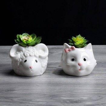 Cute Small White Glazed Ceramic Sheep/Cat Plan Pots - Decorative Pots For Houseplants 3