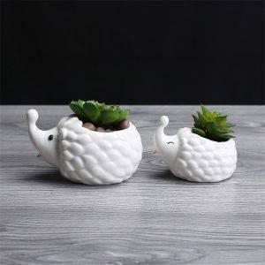 Cute Small White Glazed Ceramic Hedgehog Plan Pots – Indoor Plants In Pot