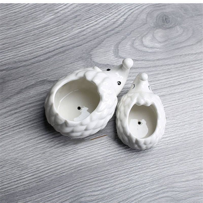 Cute Small White Glazed Ceramic Hedgehog Plan Pots – Indoor Plants In Pot