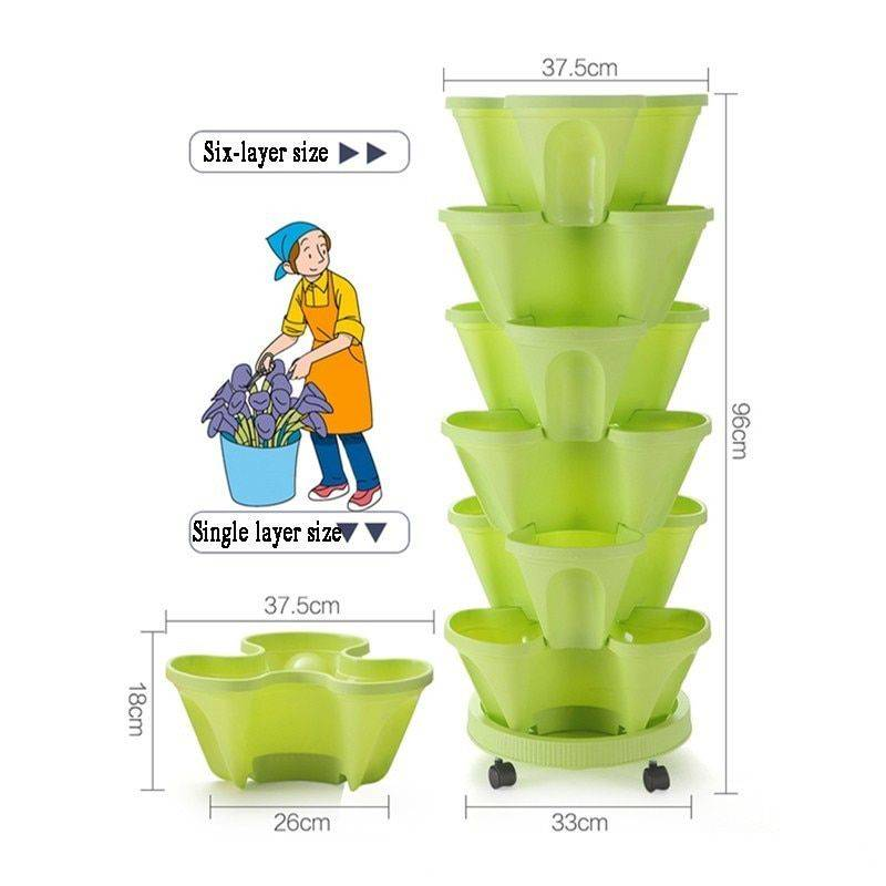 Three-dimensional Green/White/Pink/Purple/Red Plastic Flower Pots For Green Plant – Pots For Vegetable Gardening