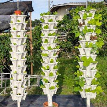 Three-dimensional Green/White/Pink/Purple/Red Plastic Flower Pots For Green Plant - Pots For Vegetable Gardening 2