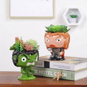 Cute Resin Avengers Plan Pots For Desk Decor – Captain America/Iron Man/Hulk/Thor Shaped Flower Pots