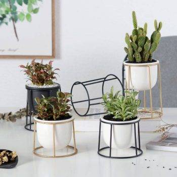 Modern White/Black Ceramic Pot Planters With Rack Shelf - Hanging Flower Pots With Iron Tray 3