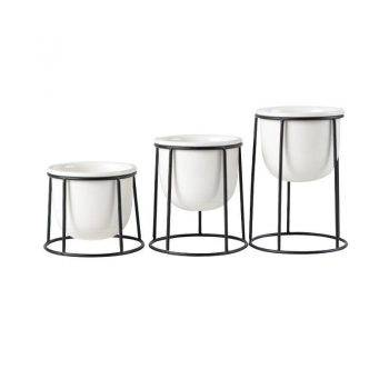 Modern White/Black Ceramic Pot Planters With Rack Shelf - Hanging Flower Pots With Iron Tray 5