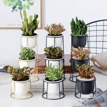 Modern White/Black Ceramic Pot Planters With Rack Shelf - Hanging Flower Pots With Iron Tray 2