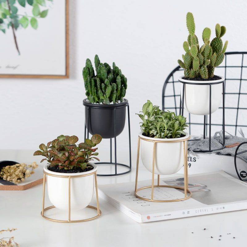 Modern White/Black Ceramic Pot Planters With Rack Shelf – Hanging Flower Pots With Iron Tray