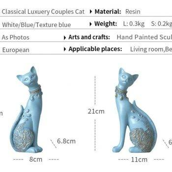 Lucky Blue/White Resin Cat Statues For Home Decor - Office Decor For Desk 1