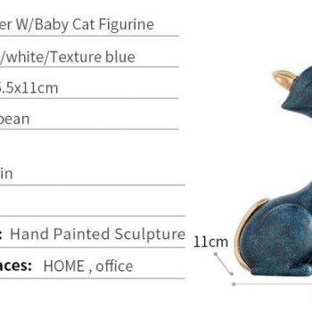 Vintage Blue/White Resin Cat Figurine For Office Desk - Statue Of Animal 6