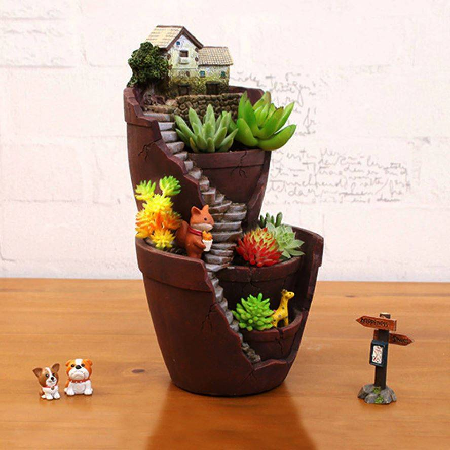 Resin Double-Layer Succulents Plants Pot – Indoor Plants With Pot