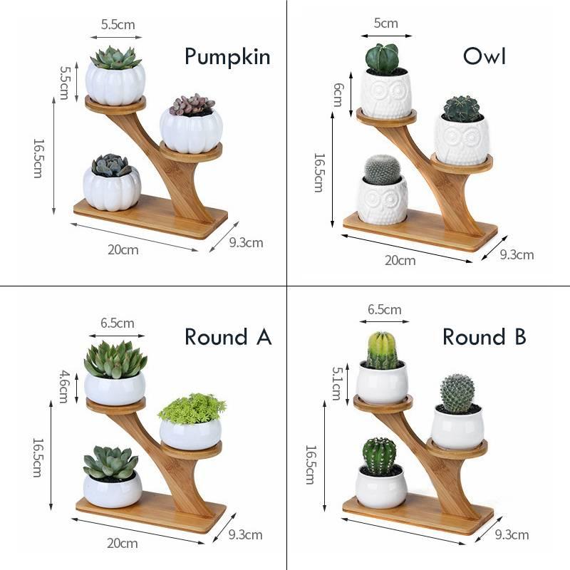 White Ceramic Owl Plant Pots – Flower Pot With Bamboo Shelf