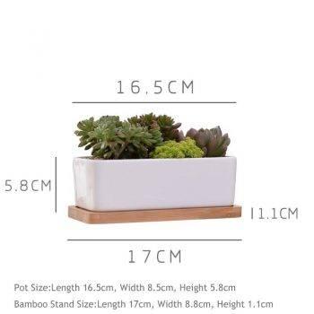 1 Set Minimalist Rectangle White Ceramic Succulent Plant Pots - Flower Pot For Home Decor 1