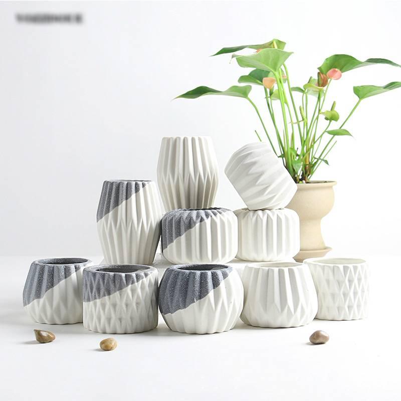 Modern Gray/White Ceramic Geometric Flowerpot – Small Green Planters For Bonsai