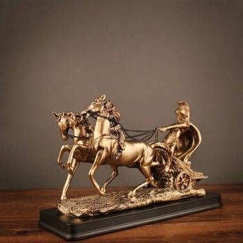 Friesian Horse Riding Statue For Home Decor - Resin, Roman Warrior, Quarter/Mustang/Seabiscuit/Clydesdale Horse Statuette, Animal Statues For Office Decor 2