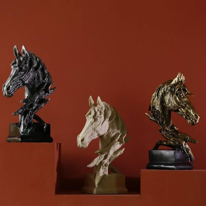 Sculpture Horse Head Abstract Ornaments Decoration For Home Handcrafts Figurine Miniature Model Desk Decor Accessories Statue