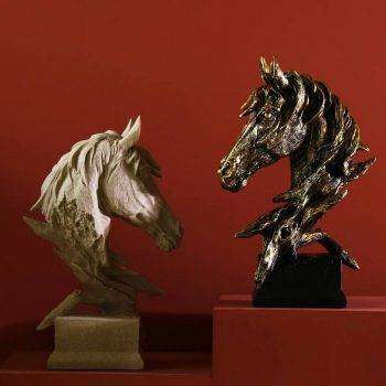 Arabian Horse Head Statue For Home Office Decor - Resin, Friesian/Quarter/Mustang/Morgan Horse Statuette, Art Deco Statue 3