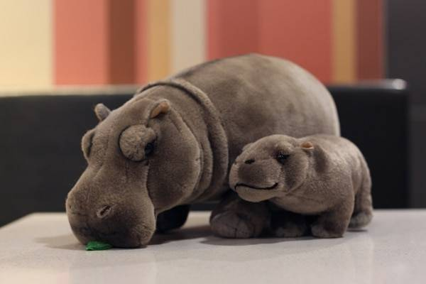 12″ Lifelike Standing Hippos Stuffed Animal Toys Soft Real Life Hippopotamus Plush Toy Birthday Gift For Kids