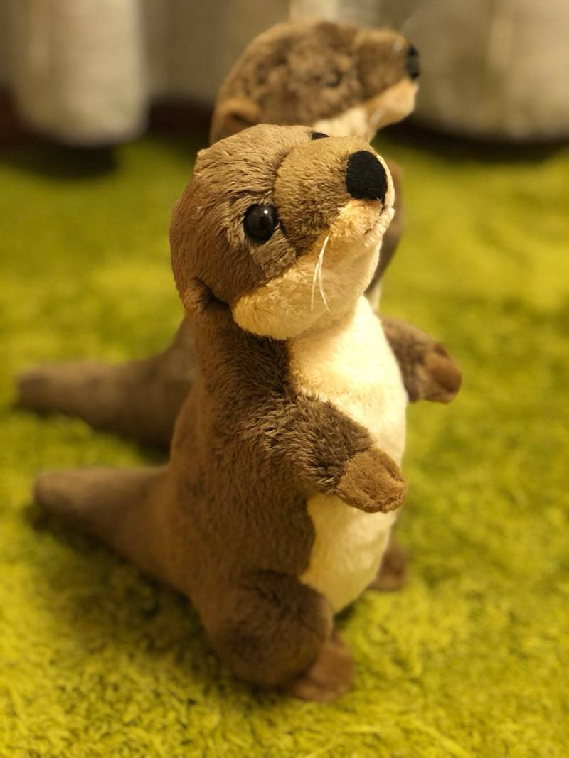 18cm Standing River Otter Plush Toys Mini Size Real Life Otter Stuffed Animals Toys For Kids Birthday Gifts