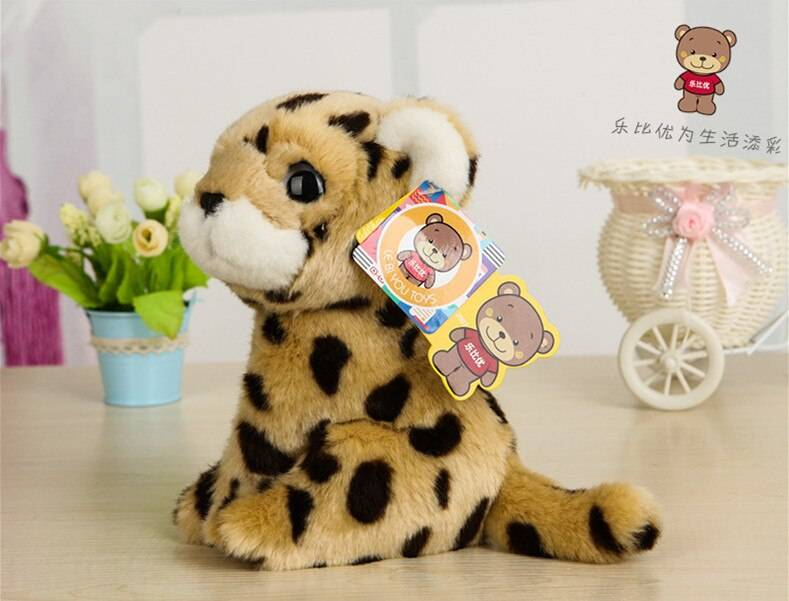 Free Shipping 18CM Cute Simulation Leopard Plush Toys Dolls Kawaii Stuffed Animal Toys For Children Christmas Gifts