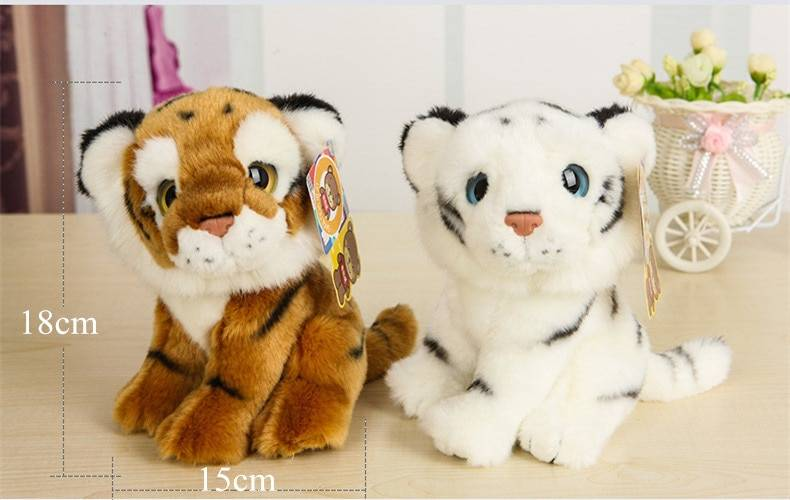 Free Shipping 18CM Cute Simulation Tiger Plush Toys Dolls Stuffed Animal Toys For Children Girls Boys Christmas Gifts