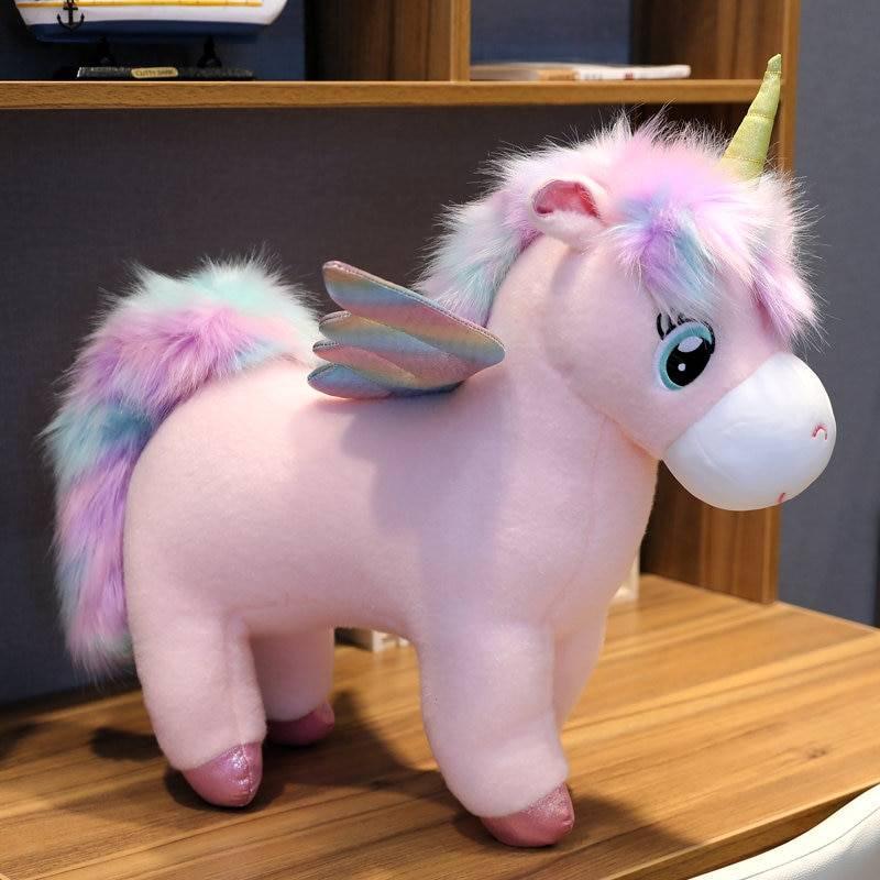 Fantastic Rainbow Unicorns Plush toy Giant Unicorn Toy Stuffed Animals Doll Fluffy Hair Horse Toys for Children Girls Xmas Gift