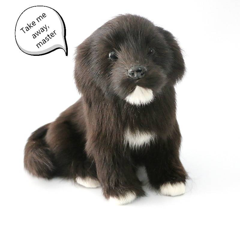 Children's suede plush animal toys realistic black mini dog doll realistic pet animal model children cognitive toys creative gif