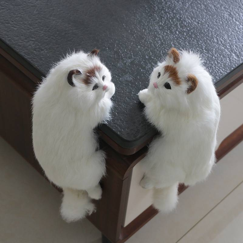 Simulation cat animal model decoration home TV decoration hanging cat crafts plush toy doll gift good blessing