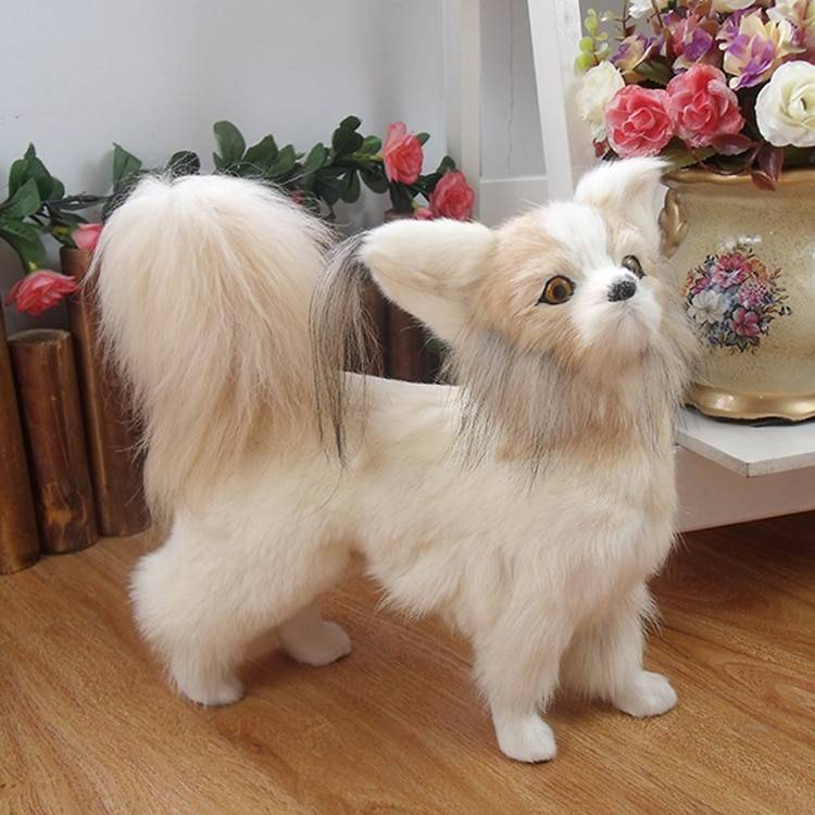 Simulation dog leather hair simulation animal butterfly dog cute realistic dog home decoration holiday props children gifts