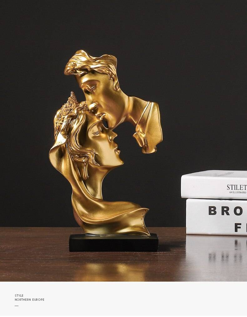 Abstract Figure Statue Resin Ornaments Gold Sculpture Crafts Home Living Room Decoration Figurines For Interior