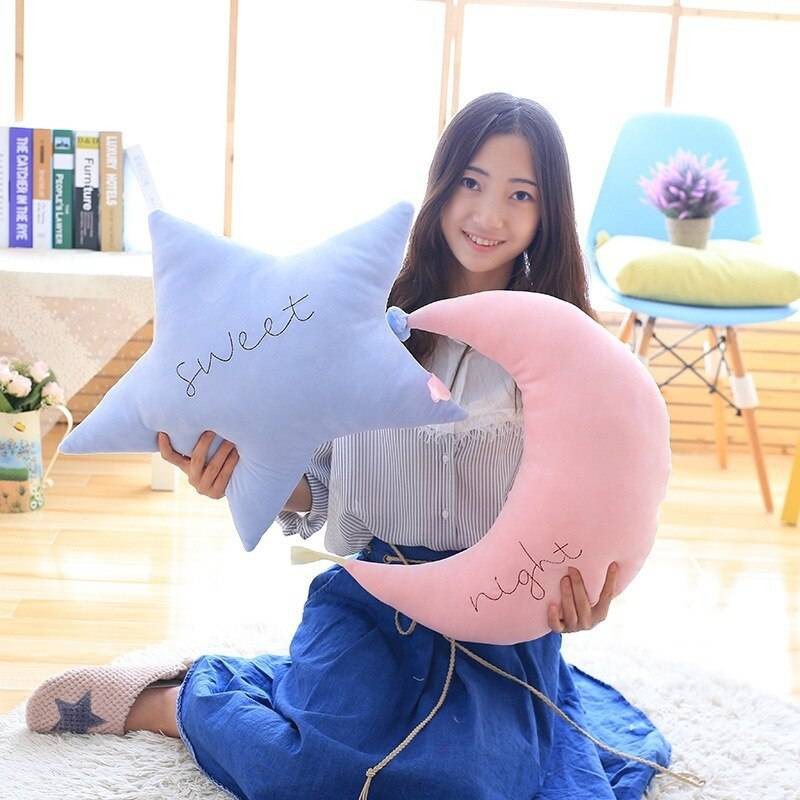 Baby Pillow Toys Soft Appease Star Moon Cloud Calm Doll Plush Stuffed Cute Bed Decoration Cushion