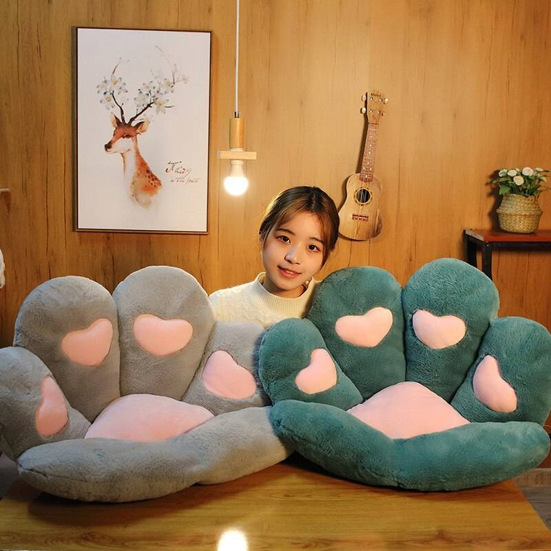Cat Paw Seat Cushion Squishy Giant Stuffed Animals Plush Soft Sofa Indoor Home Chair Decor Pillow Gift For Girls Children
