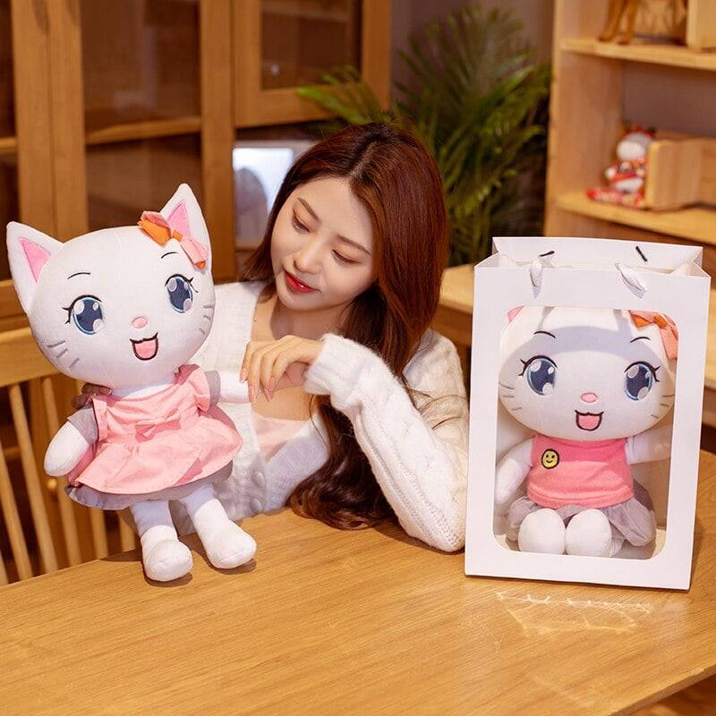 Cat Toy Soft Stuffed Animals Crossing Plushie Cartoon Kitty Pillow Cute Cats Doll Valentine's Day Gifts For Girls Kids