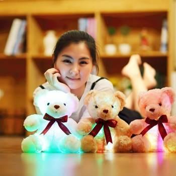 Colorful Luminous Teddy Dog LED Light Plush Pillow Cushion Kids Toys Stuffed Animal Doll Birthday Gift for Child Just6F